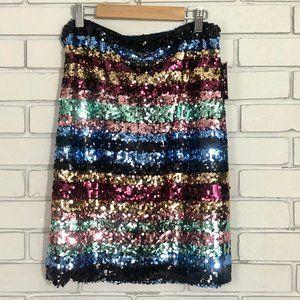 ECI Sequin Stripe Midi Skirt Size 8